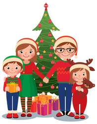 Cartoon vector illustration of a family at the Christmas tree with gifts isolated on white background/Family at Christmas tree with gifts/Cartoon vector illustration