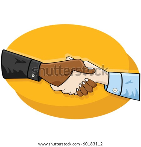 Cartoon vector illustration of a handshake between two business people