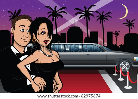 cartoon vector illustration of a Hollywood red carpet couple
