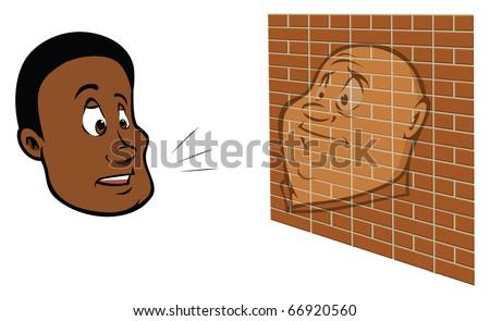cartoon vector illustration of a man talking to a brick wall