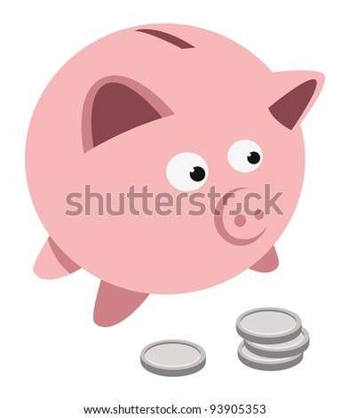 cartoon vector illustration of a piggy bank and coins