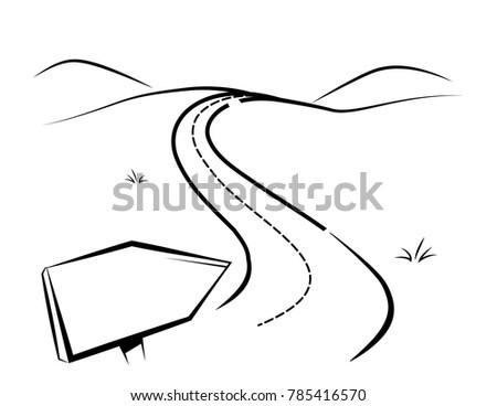 cartoon vector illustration of a twisting highway