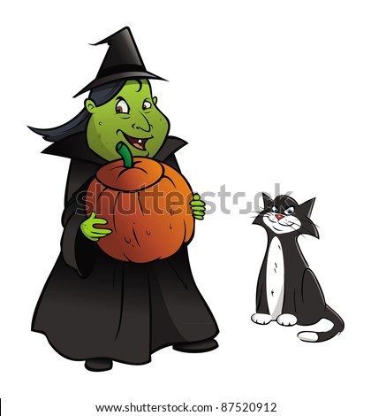 cartoon vector illustration of a witch, cat and pumpkin - stock vector