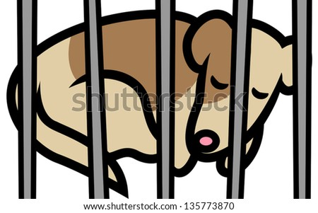 Cartoon vector illustration of abandoned dog or puppy in shelter behind bars, animal cruelty