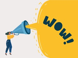 Cartoon vector illustration of Advertising Promotion. Woman character shout in vintage loudspeaker, big megaphone advertisement marketing concept. Announcement business communication.