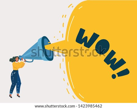 Cartoon vector illustration of Advertising Promotion. Woman character shout in vintage loudspeaker, big megaphone advertisement marketing concept. Announcement business communication.
