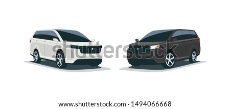 Cartoon vector illustration of an abstract modern all-terrain white and black suv mpv family american style big 4x4 car. Front side perspective view. Isolated vehicle on white background.