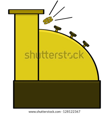 Cartoon vector illustration of an old model cash register ringing out a dollar sign