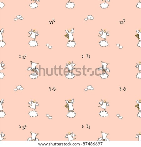 cartoon vector illustration of angels playing and dancing in pink