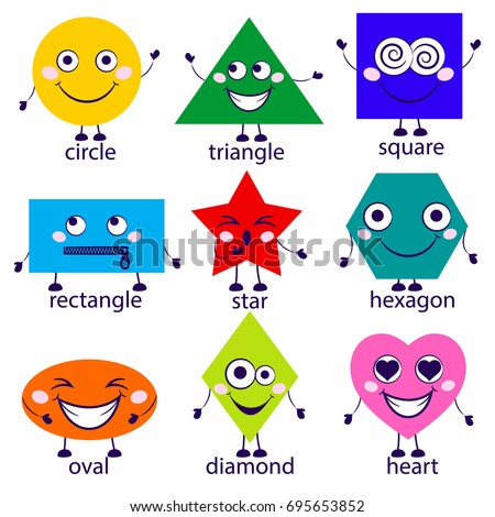 Cartoon Vector Illustration of Basic Geometric Shapes.  Funny Shapes Characters for Children Education. Illustration isolated on white background