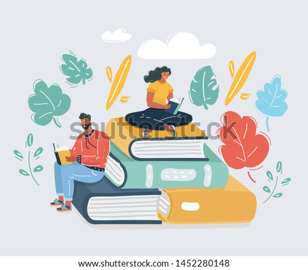 Cartoon vector illustration of Book festival. Students woman and man reading, learning and sitting on big books. Study in library. Literature fans or lovers, student, education concept, fair.