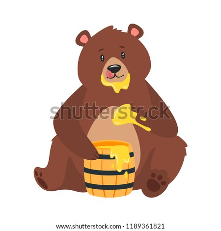 Cartoon vector illustration of brown grizzly bear, isolated on white background. Teddy sitting and eating sweet honey from the wooden barrel. Paw in sticky nectar.