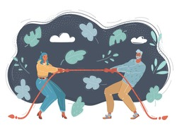 Cartoon vector illustration of business competition. Tug of war concept on dark background.
