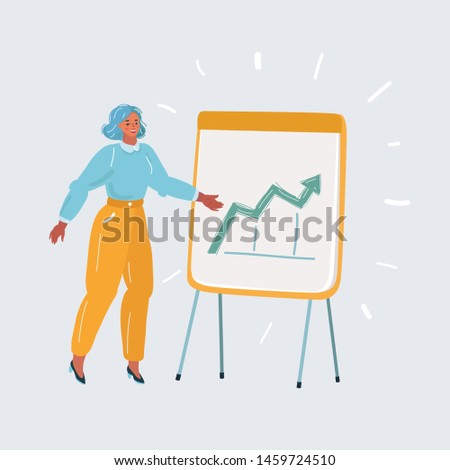 Cartoon vector illustration of Business plan explained on flipchart. Woman make a presentation. Human character on white isolated background.