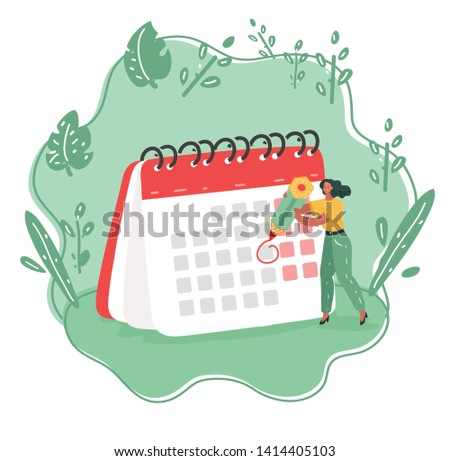 Cartoon vector illustration of Calendar schedule board with planner scheduling work. Woman make up plan timeline. Daily routine concept.
