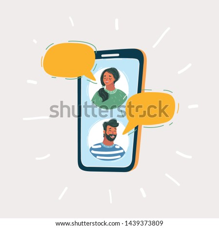 Cartoon vector illustration of Chat conversation messages. Messages sms bubbles, man chatting on cellphone with woman isolated on white.