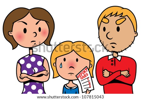 Cartoon vector illustration of child holding bad school report card an angry parents
