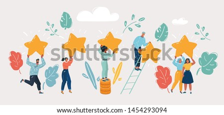 Cartoon vector illustration of Concept of Five stars rating. People are holding stars over the heads. Feedback consumer or customer review evaluation, satisfaction characters.