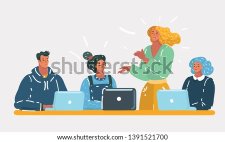 Cartoon vector illustration of Concept of the coworking center. Business meeting. Shared working environment. People talking at the computers in the open space office. Team concept on white isolated.