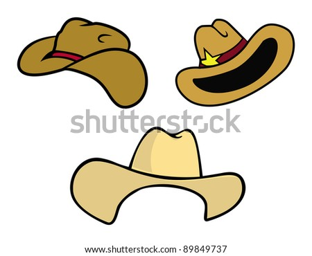 cartoon vector illustration of cowboy hats