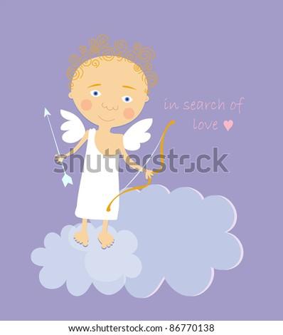 cartoon vector illustration of cupid in the cloud