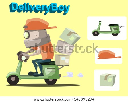 Cartoon vector illustration of delivery robot with motorbike, cap and box