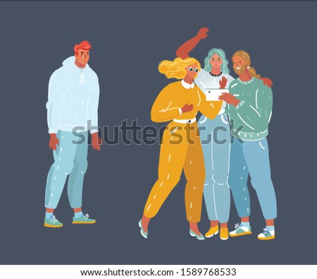 Cartoon vector illustration of depressed expelled outsider man standing out from friends group. Psychological problems, an outcast, problems with friendship and communication