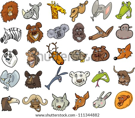 Cartoon Vector Illustration of Different Funny Wild Animals Heads Huge Set