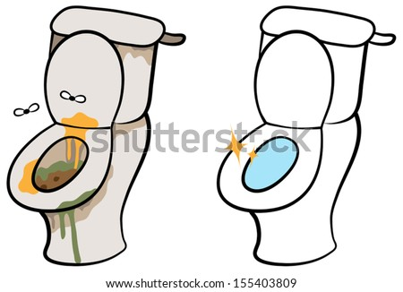 Cartoon vector illustration of dirty and smelly toilet and clean hygienic toilet