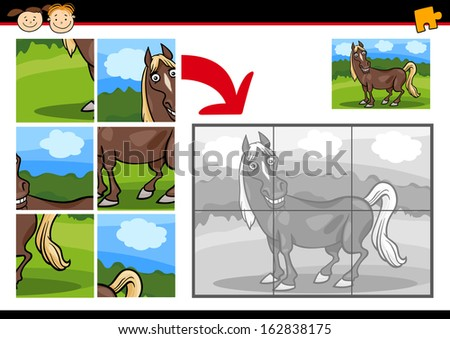 Cartoon Vector Illustration of Education Jigsaw Puzzle Game for Preschool Children with Funny Horse Farm Animal