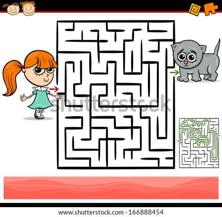 Cartoon Vector Illustration of Education Maze or Labyrinth Game for Preschool Children with Cute Little Girl and Baby Kitten