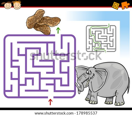 Cartoon Vector Illustration of Education Maze or Labyrinth Game for Preschool Children with Cute Elephant and Peanuts