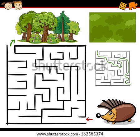 Cartoon Vector Illustration of Education Maze or Labyrinth Game for Preschool Children with Funny Hedgehog Animal