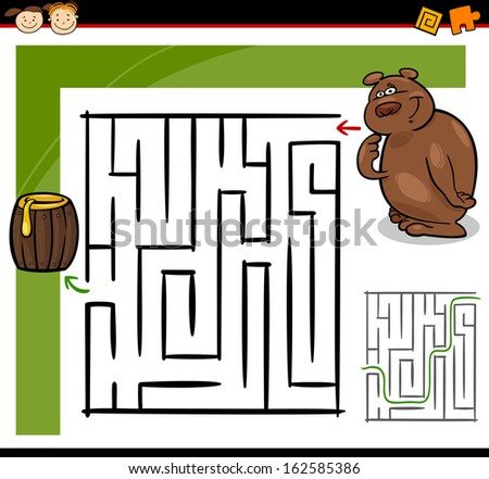 Cartoon Vector Illustration of Education Maze or Labyrinth Game for Preschool Children with Funny Bear Animal and Barrel of Honey