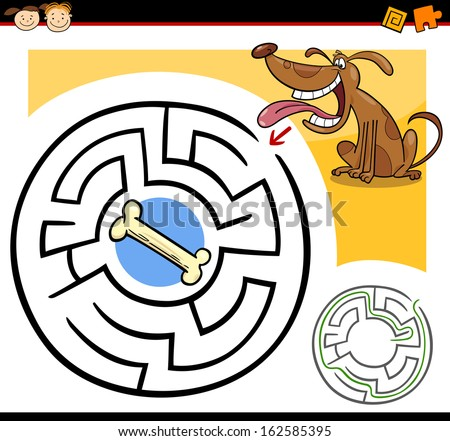 Cartoon Vector Illustration of Education Maze or Labyrinth Game for Preschool Children with Funny Dog and Dog Bone