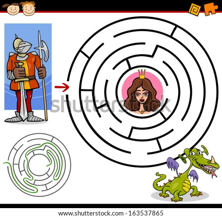 Cartoon Vector Illustration of Education Maze or Labyrinth Game for Preschool Children with Funny Brave Knight and Beautiful Princess