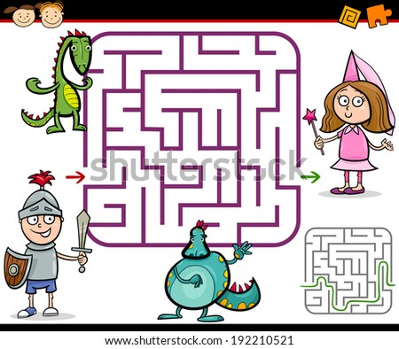 Cartoon Vector Illustration of Education Maze or Labyrinth Game for Preschool Children with Little Boy Knight and Girl Princess