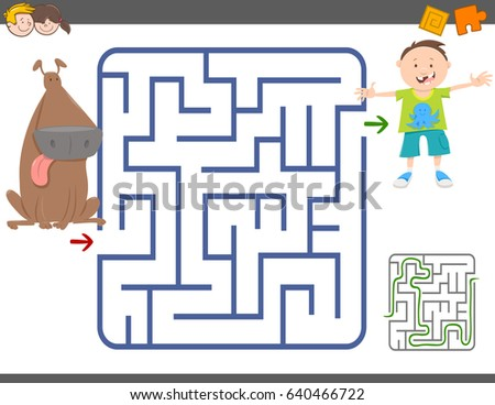 Cartoon Vector Illustration of Education Maze or Labyrinth Leisure Game with Boy and Dog