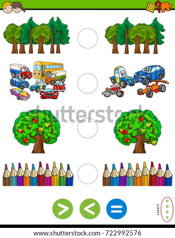 Cartoon Vector Illustration of Educational Mathematical Activity Game of Greater Than, Less Than or Equal to for Kids