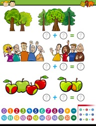 Cartoon Vector Illustration of Educational Mathematical Addition Task for Preschoolers with Characters and Objects
