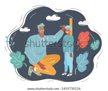 Cartoon vector illustration of Father measures the growth of his son on dark background.