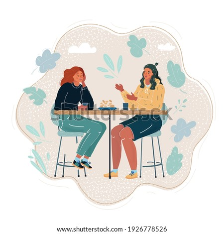 Cartoon vector illustration of Female Friends Having Lunch Together At The Mall