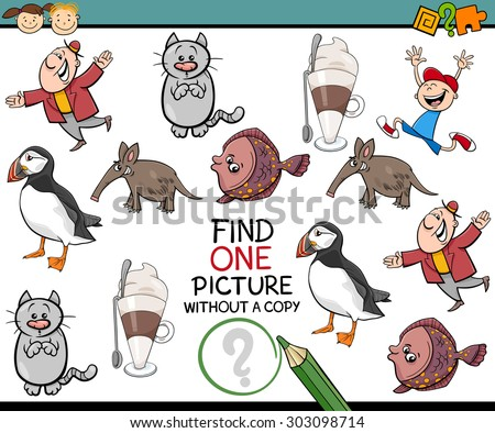 Cartoon Vector Illustration of Finding Picture without a Copy Game for Preschool Children