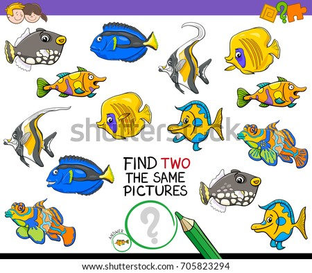 Cartoon Vector Illustration of Finding Two Identical Pictures Educational Activity Game for Children with Fish
