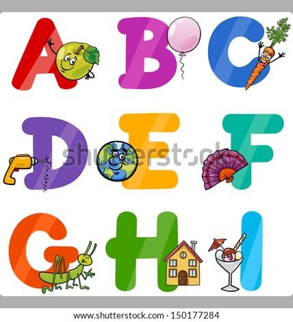 Cartoon Vector Illustration Of Funny Capital Letters Alphabet With ...