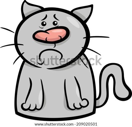 Cartoon Vector Illustration of Funny Cat Expressing Sadness Emotion