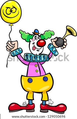 Cartoon Vector Illustration of Funny Clown with Balloon and Air Horn