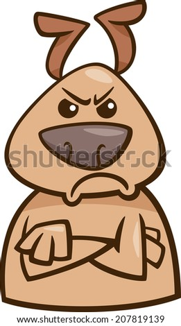 Cartoon Vector Illustration of Funny Dog Expressing Angry Mood or Emotion