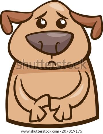 Cartoon Vector Illustration of Funny Dog Expressing Sad Mood or Emotion