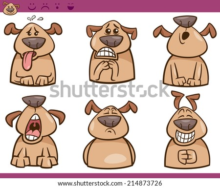 Cartoon Vector Illustration of Funny Dogs Expressing Emotions Set